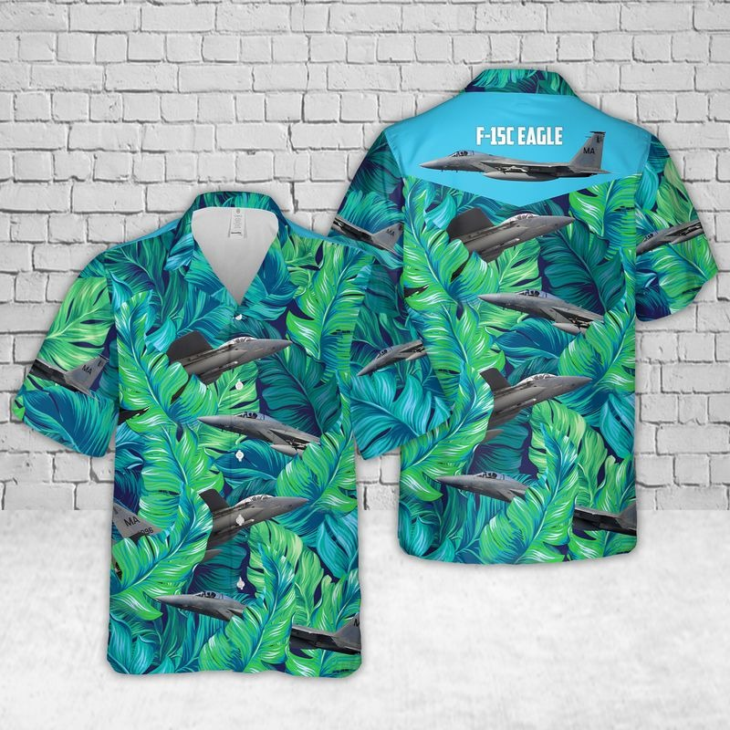 Air Force F-15C Eagle Massachusetts Tropical Hawaiian Shirt