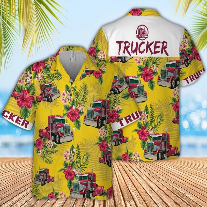Trucker aloha hawaiian shirt for truck lover