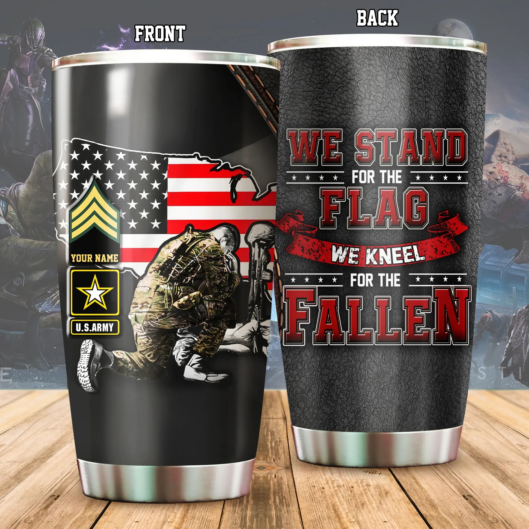 US Army We Stand For The Flag Kneel For The Fallen Personalized Tumbler