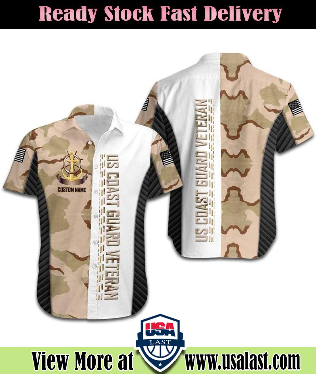 US Coast Guard Camouflage Custom Name Hawaiian Shirt