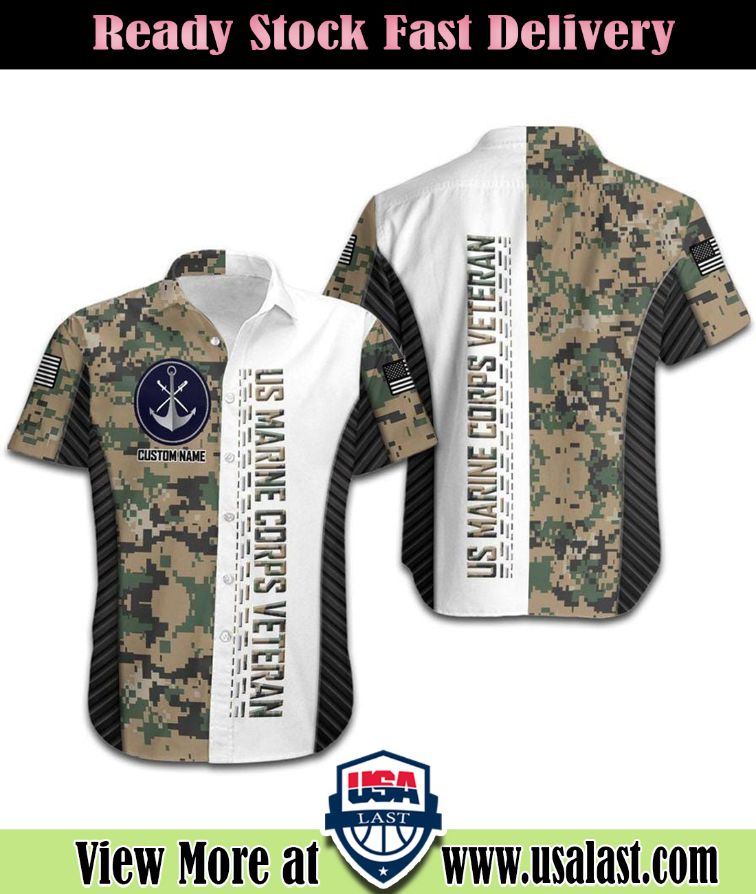 US Marine Corps Military Camouflage Custom Name Hawaiian Shirt