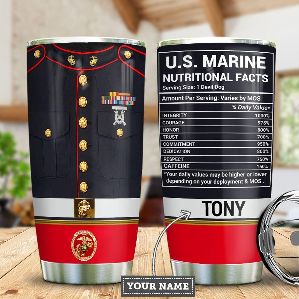 US Marine Nutrition Facts Custom Name Steel Tumbler