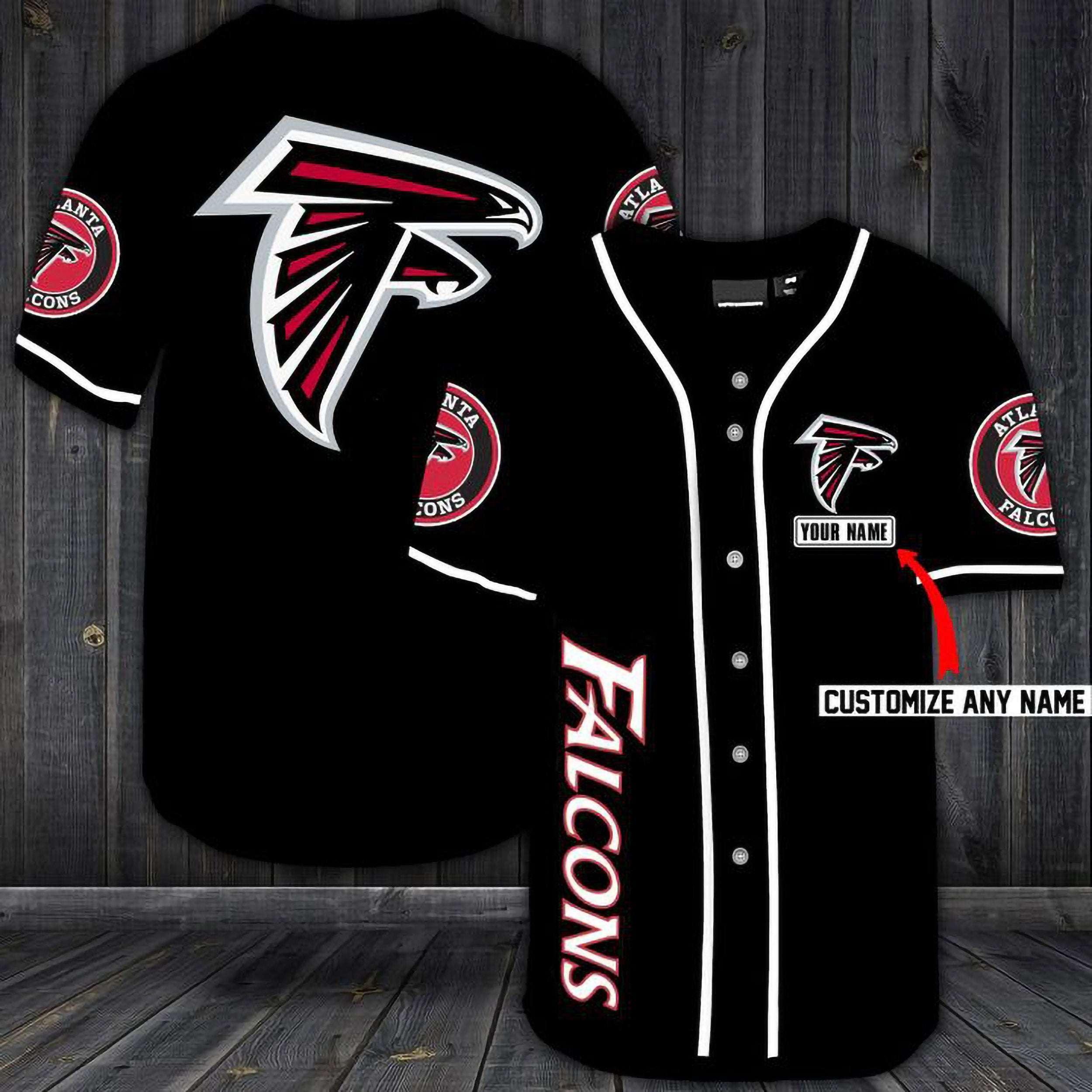 Atlanta Falcons Personalized Custom Name Baseball Jersey