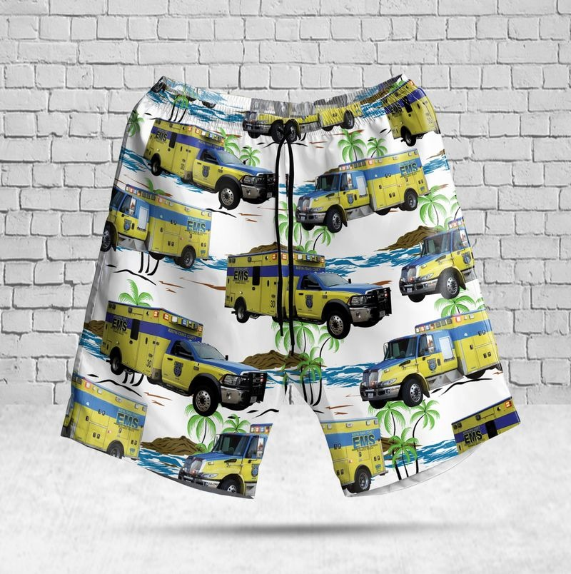 Austin-Travis County EMS Texas Hawaiian Shirt Beach Short