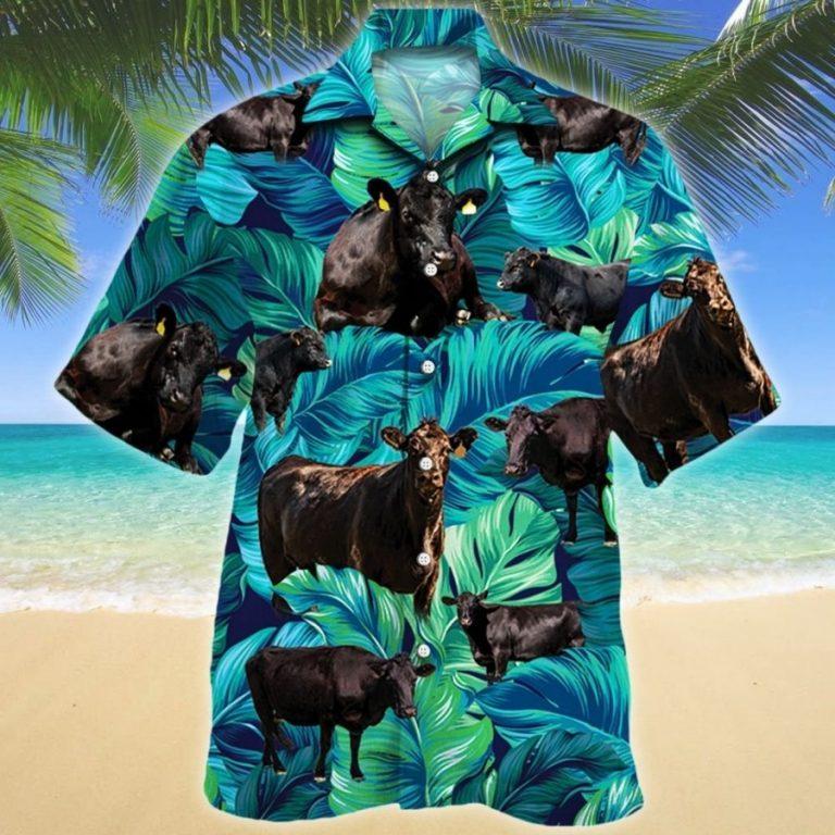 Black angus cattle lovers hawaiian shirt