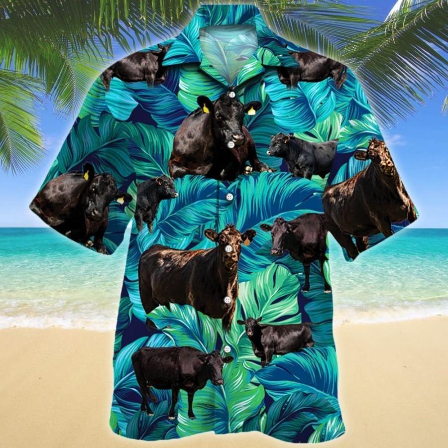 Black angus cattle lovers short sleeve hawaiian shirt
