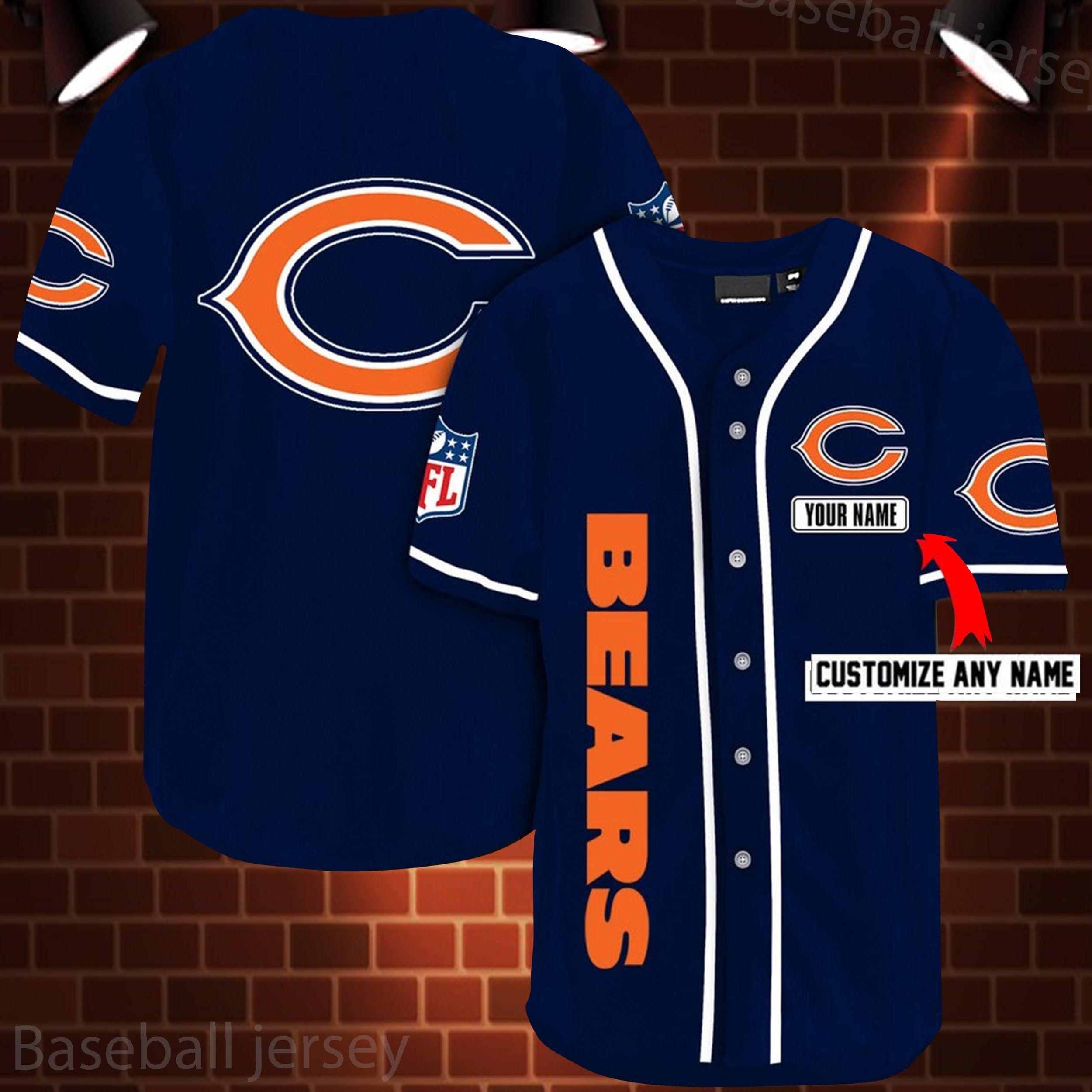 Chicago Bears Personalized Custom Name Baseball Jersey