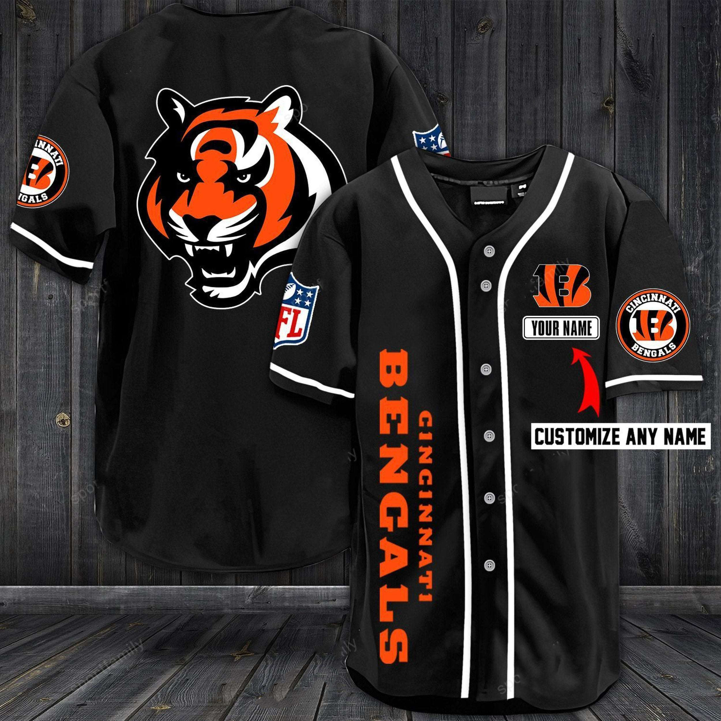Cincinnati Bengals Personalized Custom Name Baseball Jersey