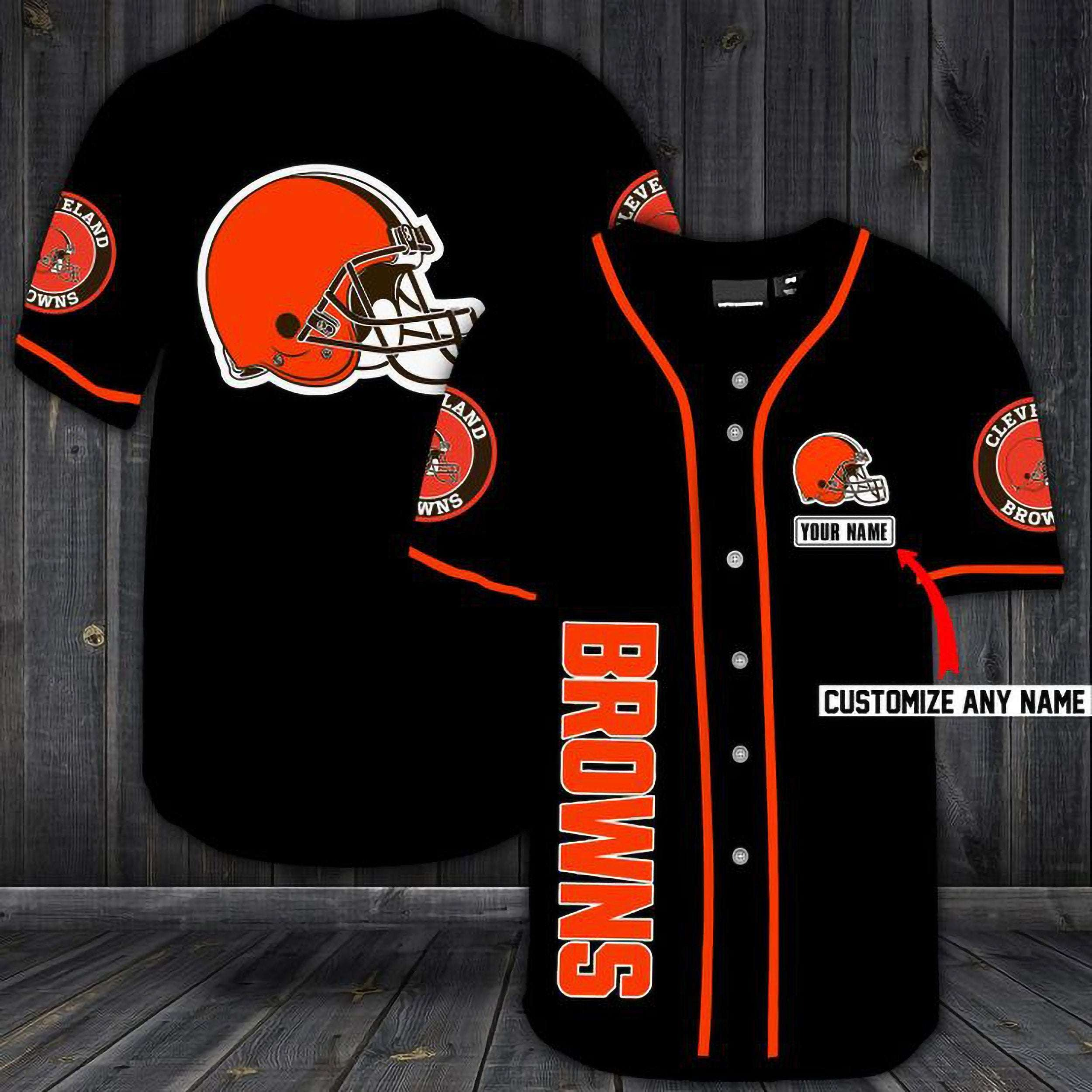 Cleveland Browns Personalized Custom Name Baseball Jersey