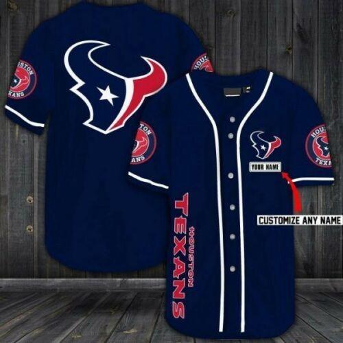 Houston Texans Personalized Custom Name Baseball Jersey