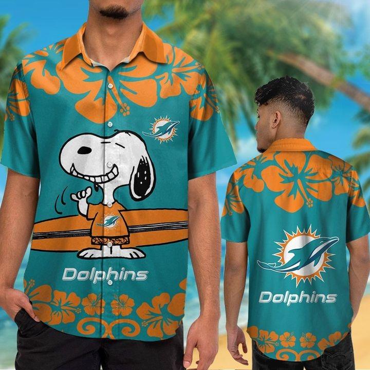 Miami Dolphin Snoopy Hawaiian Shirt Beach Short