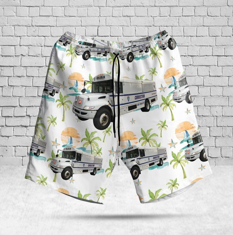 New York City Department of Correction Bus Hawaiian Shirt Beach Short