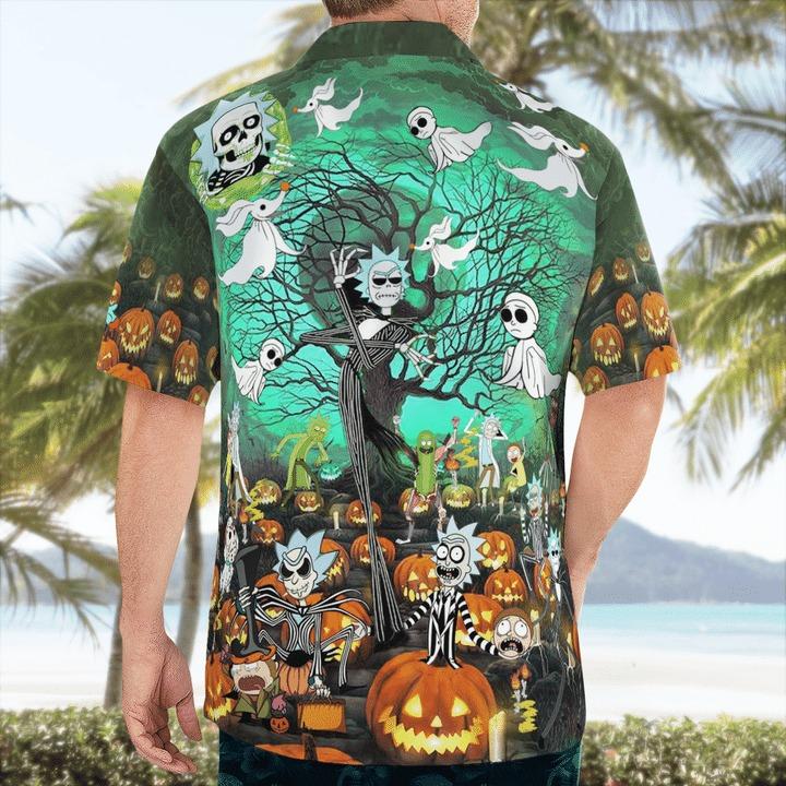 Rick And Morty Tim Burton Halloween Hawaiian Shirt 1