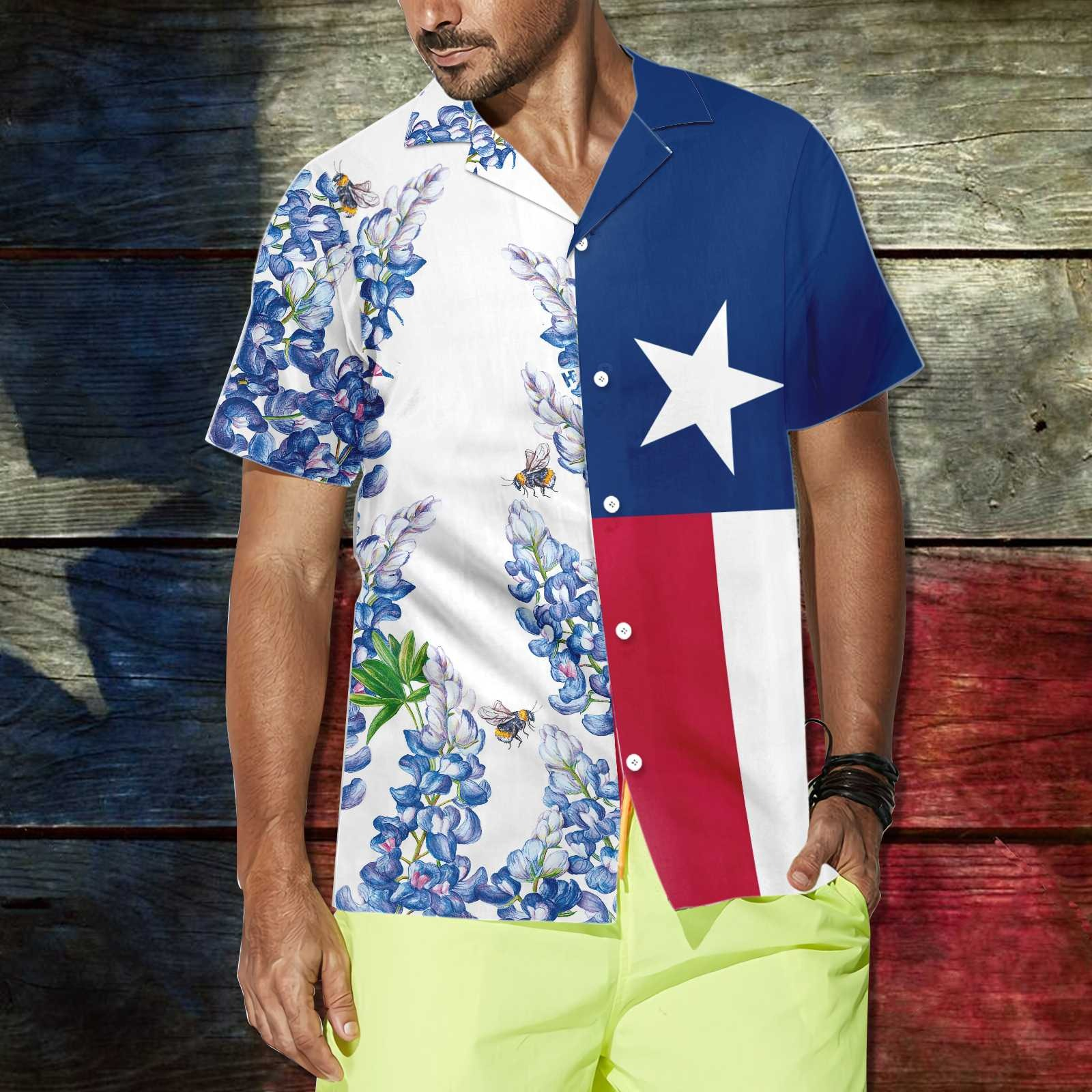 Royal Blue Bluebonnet Texas Hawaiian Shirt 1