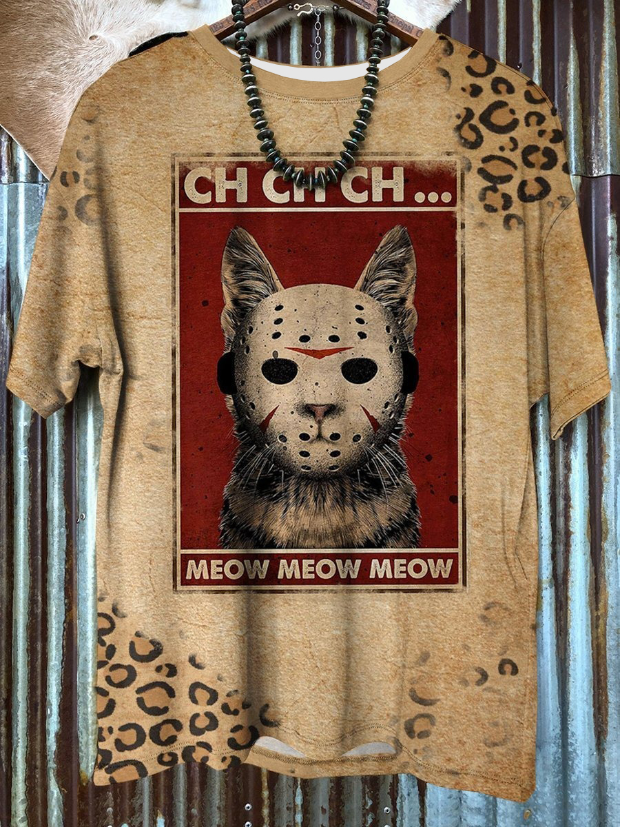 Cat Meow Vintage Scary Halloween 3D Unisex Shirt