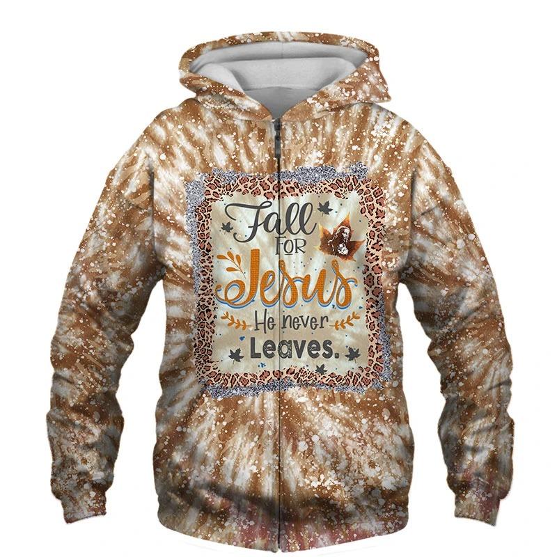 Fall For Jesus He Never Leaves 3D Unisex Shirt
