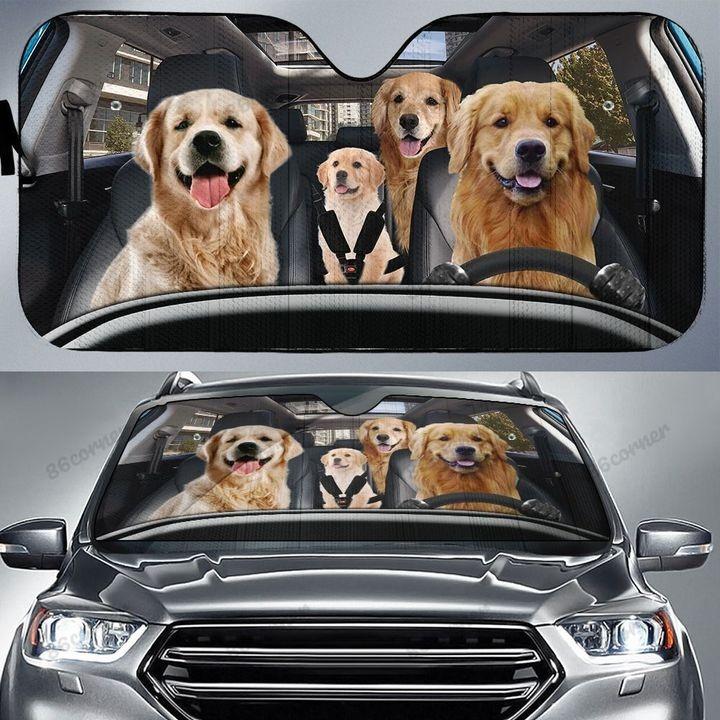 Golden Retriever Family Car Sunshade