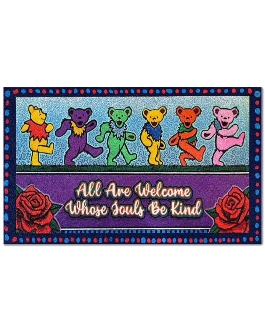 Grateful dead bears all are welcome whose souls be kind doormat