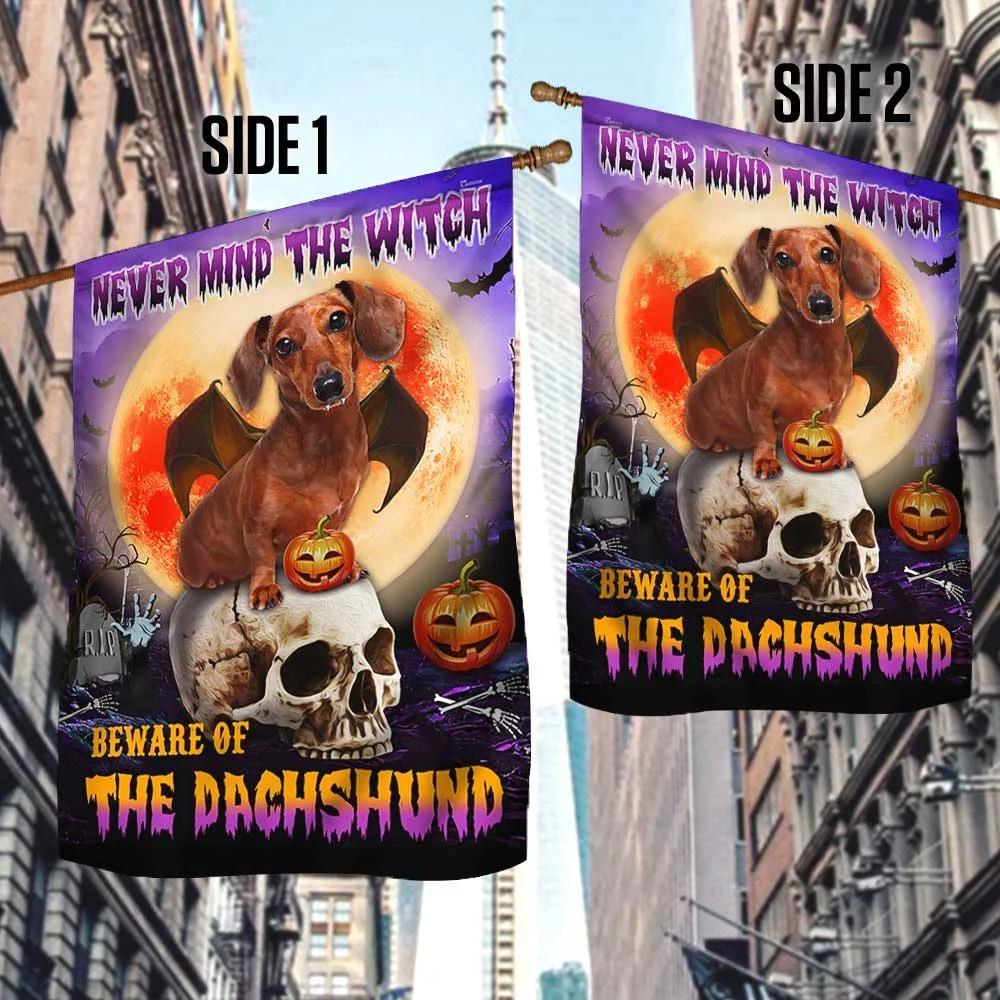 Halloween Beware Of The Dachshund Flag