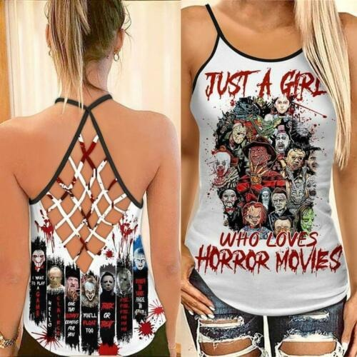 Just A Girl Who Loves Horror Movies Cross Open Back Tank Top