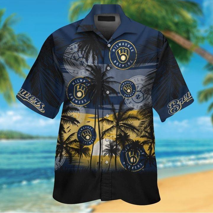 Milwaukee Brewers Tropical Short Sleeve Hawaiian Shirt
