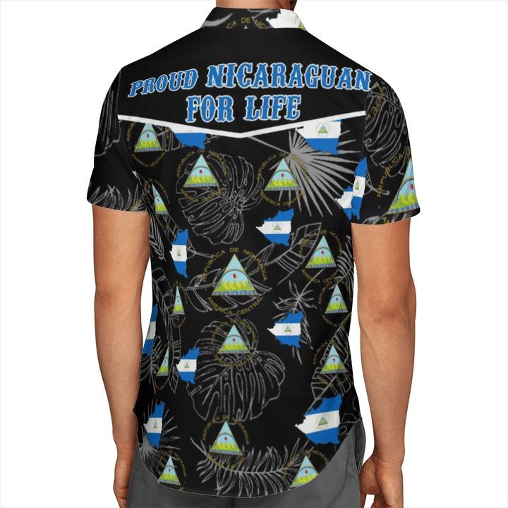 Nicaragua Flag Short Sleeve Hawaiian Shirt