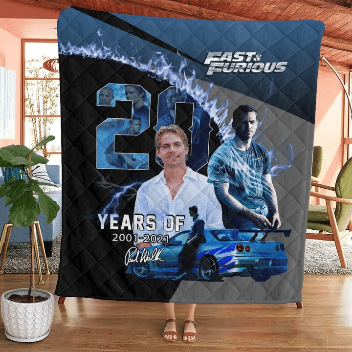 Paul Walker Fast And Furious 20 Years Of 2001 2021 Quilt Blanket