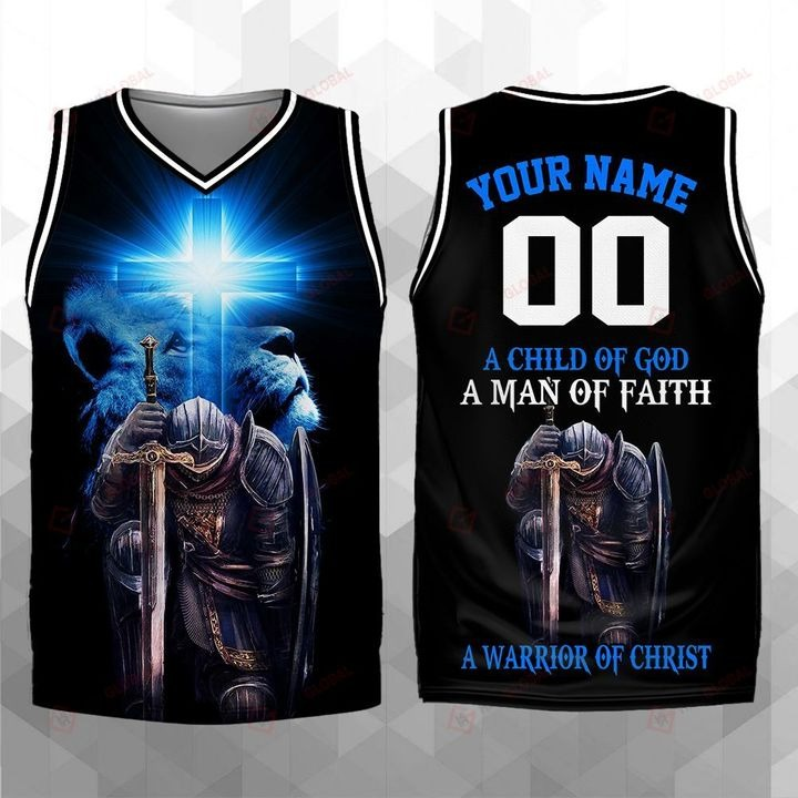 Personalized A Child Of God A Man Of Faith A Warrior Of Christ Basketball Jersey