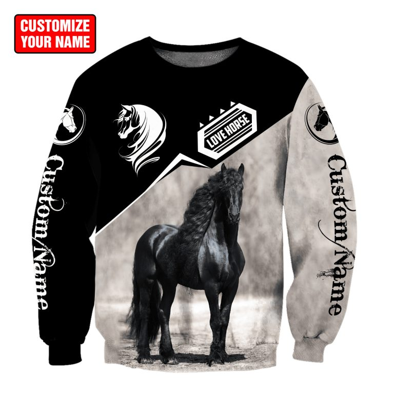 Personalized Name Friesian Horse 3D All Over Printed Unisex Shirt