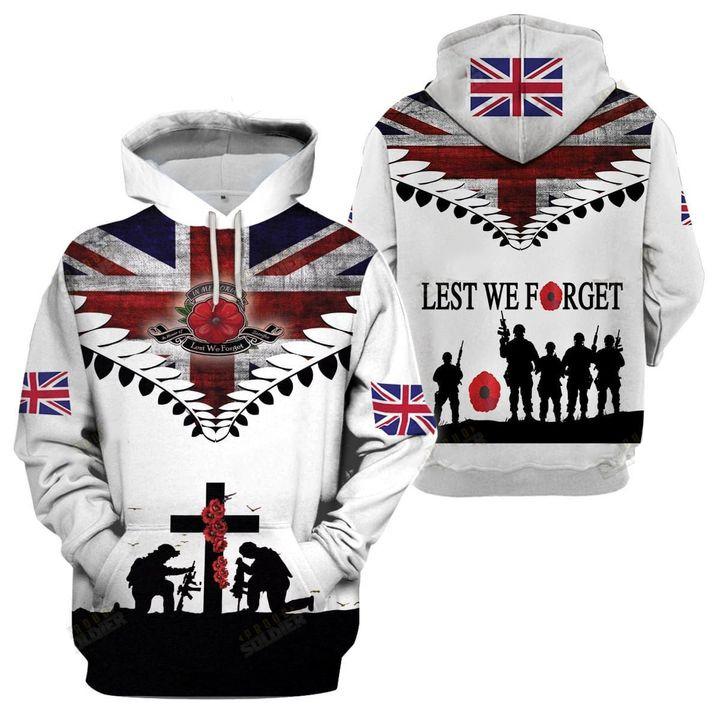United Kingdom Veteran Lest We Forget 3D All Over Print Shirt
