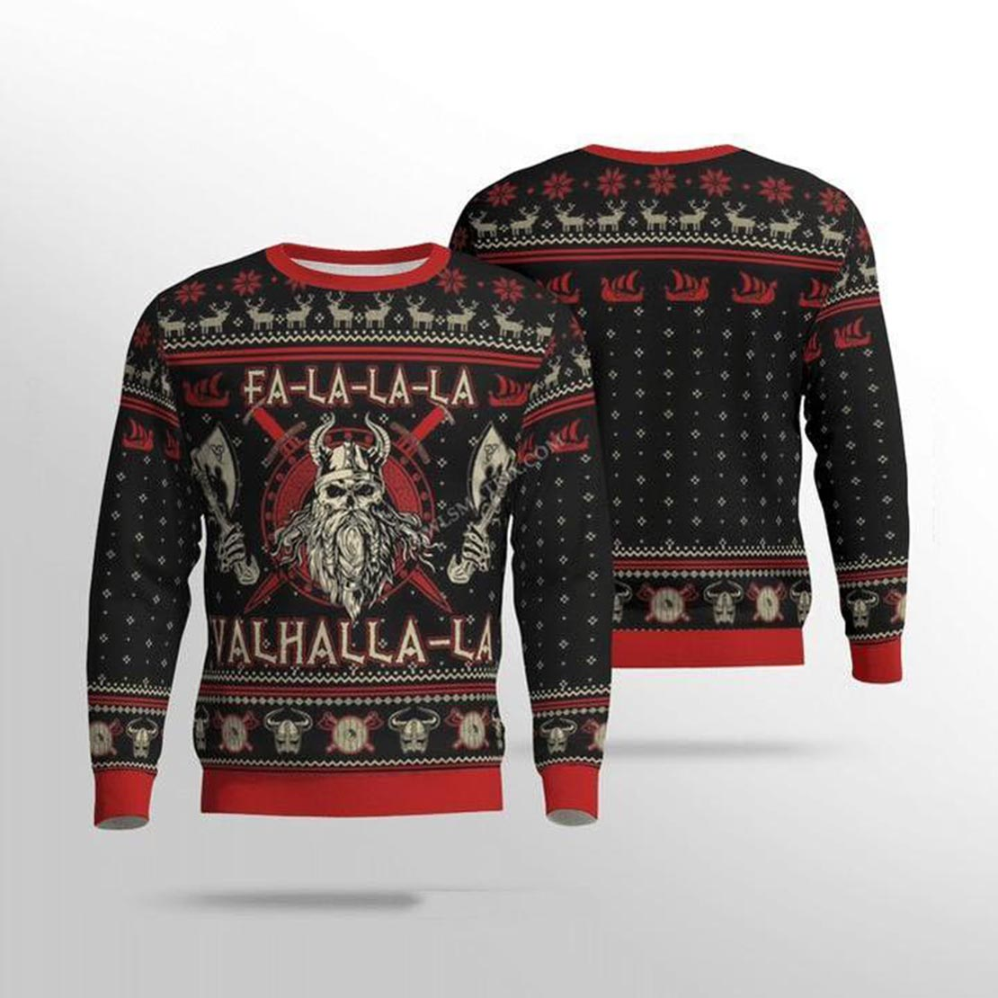 Viking valhalla black and red 3d sweater