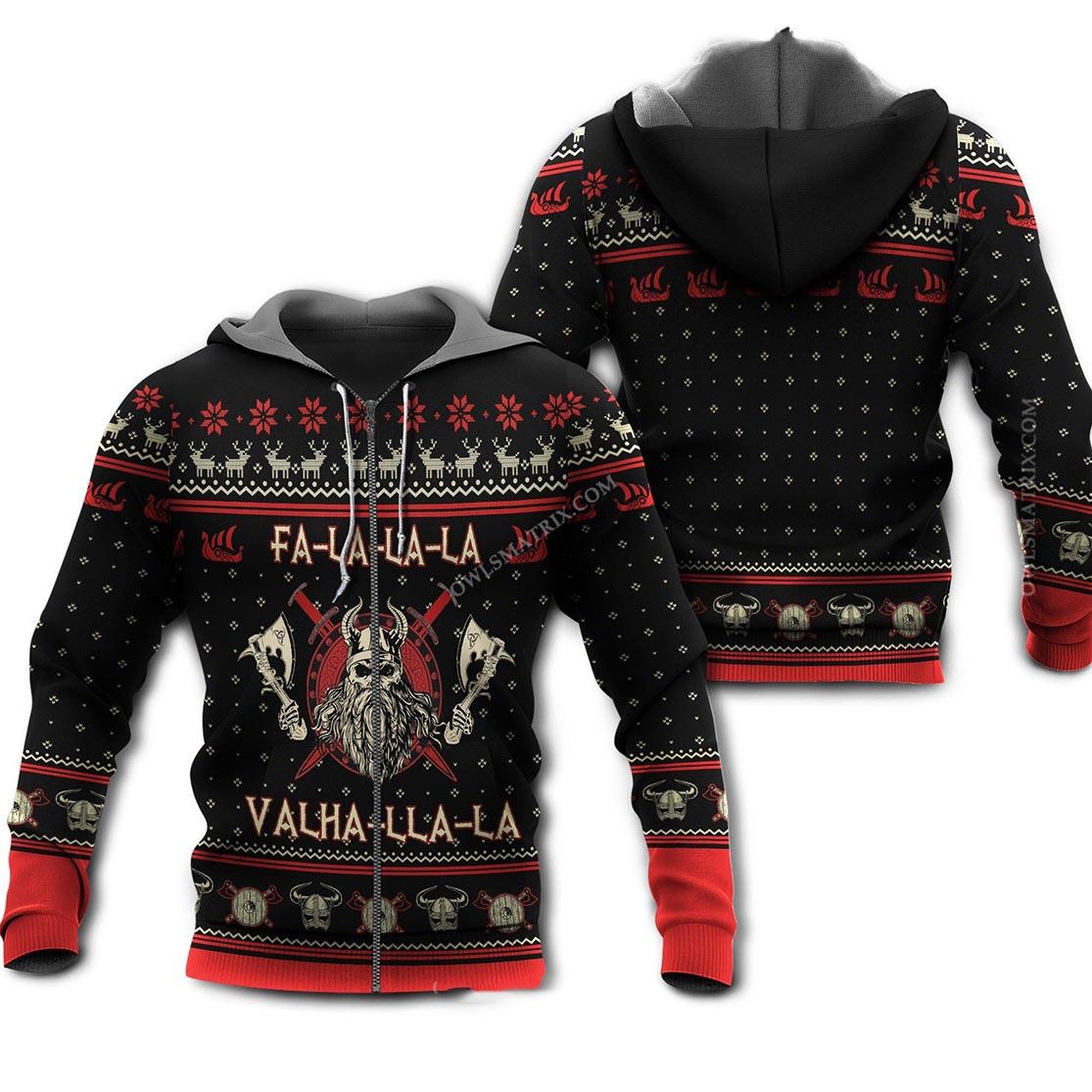 Viking valhalla black and red 3d zip hoodie