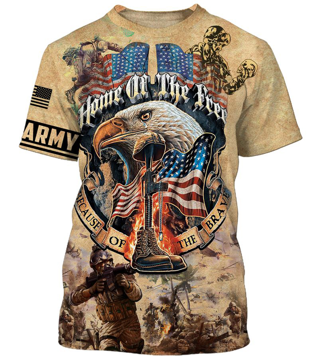 Army veteran Home of the free because of the brave 3d t-shirt