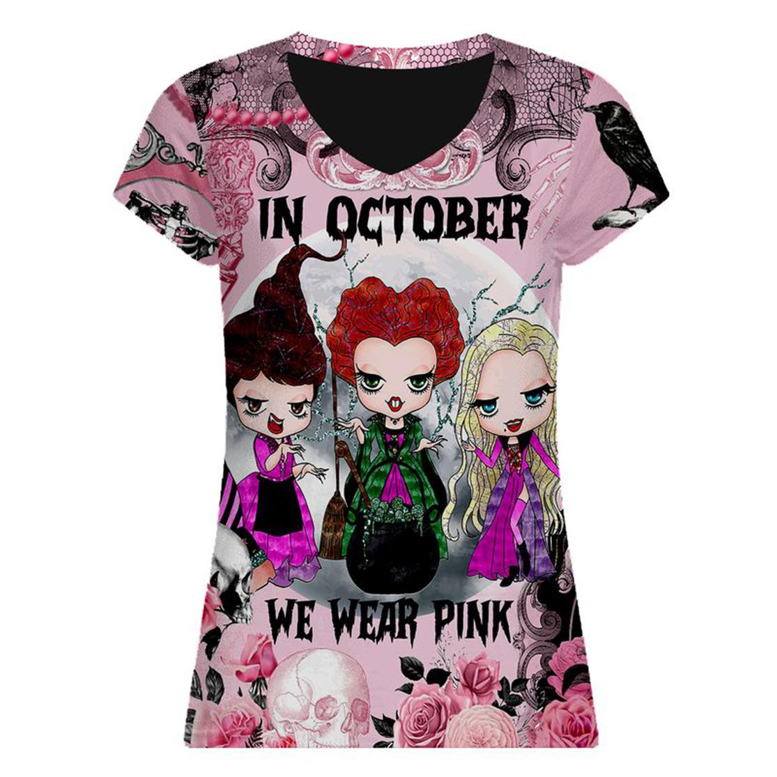 Breast cancer awareness happy halloween Sanderson Sisters In october we wear pink 3d v-neck