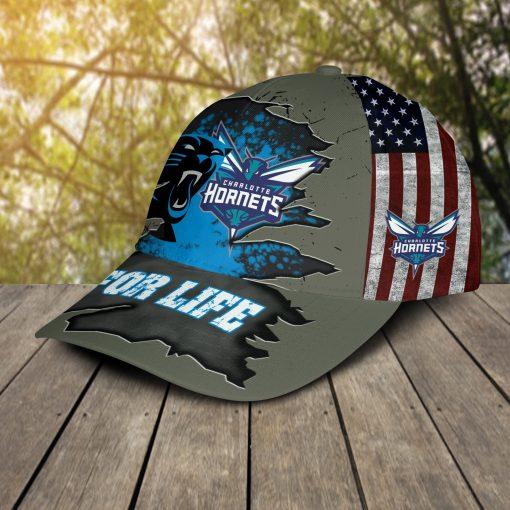 Carolina Panthers Charlotte Hornets For Life Cap Hat