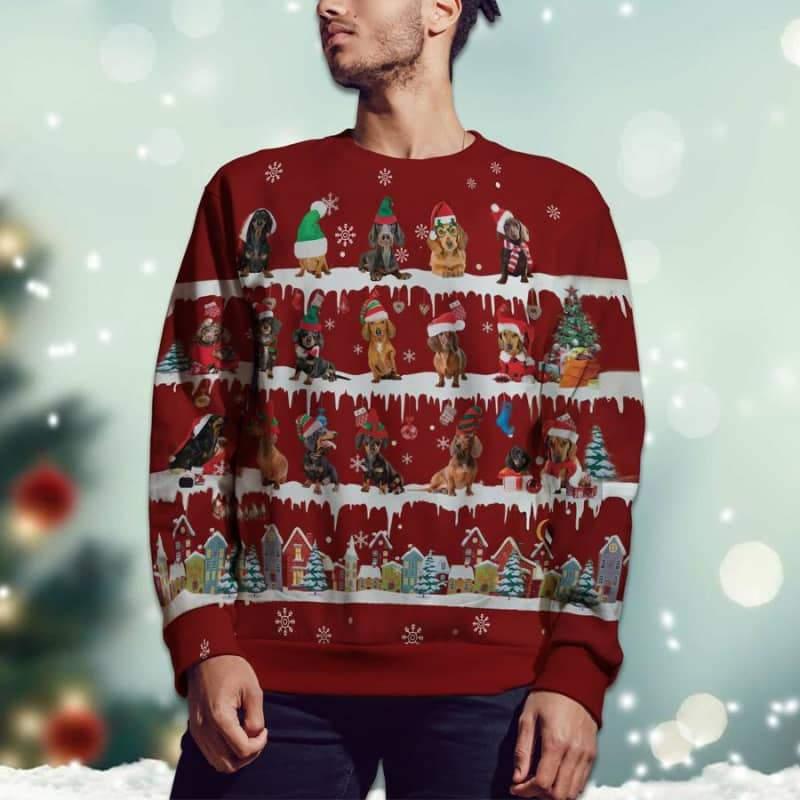 Dachshund Snow Christmas 3D Sweater For Dachshund Lover