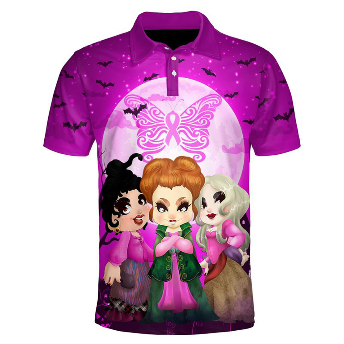 Hocus pocus happy halloween butterfly breast cancer 3d polo shirt