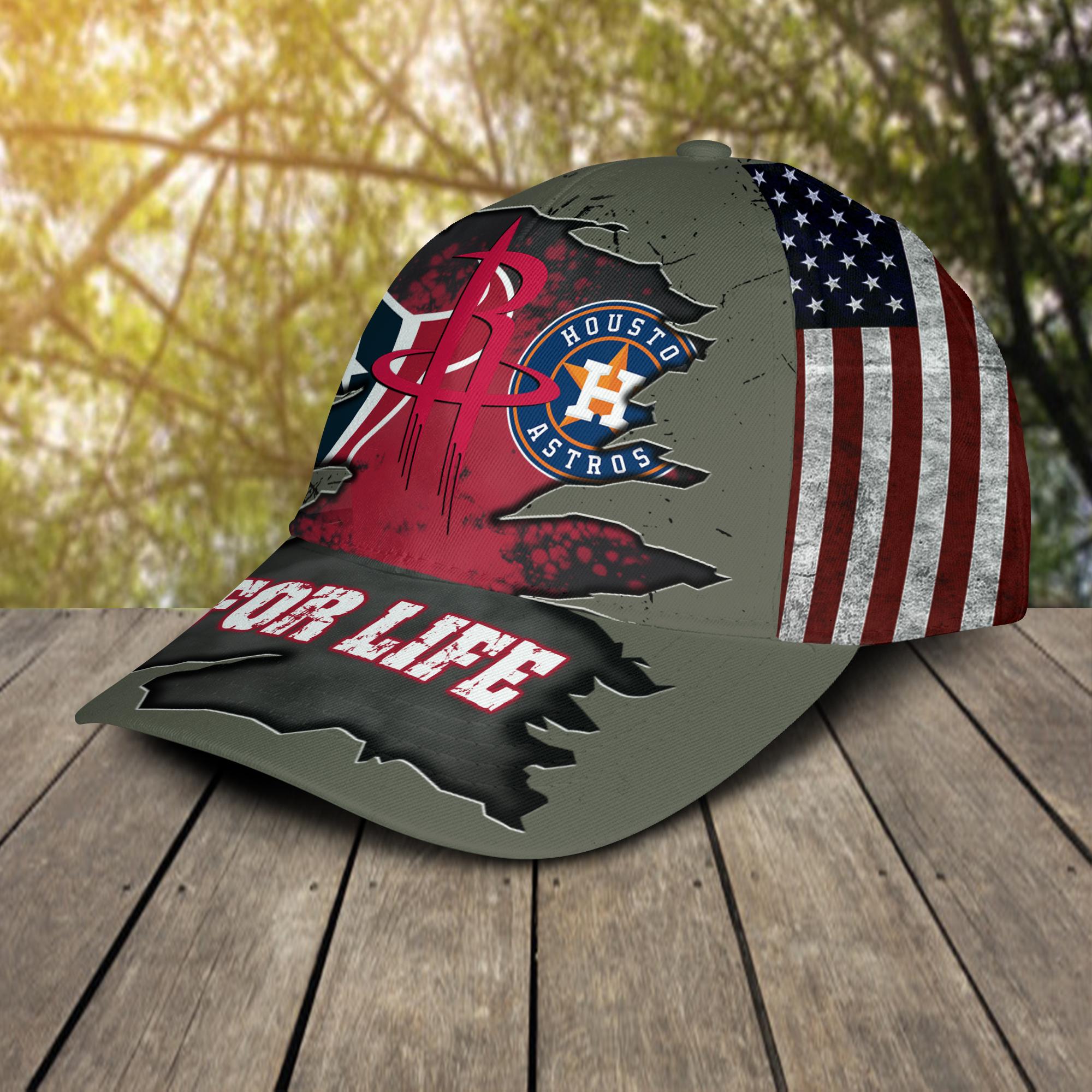 Houston Texans, Houston Astros, Houston Rockets For Life Hat Cap