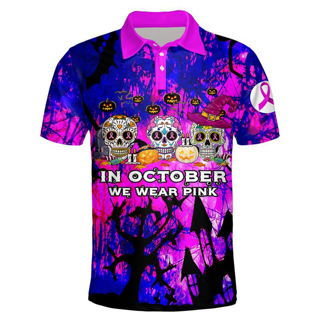 In october we wear pink Breast cancer awareness sugar skull 3d polo shirt