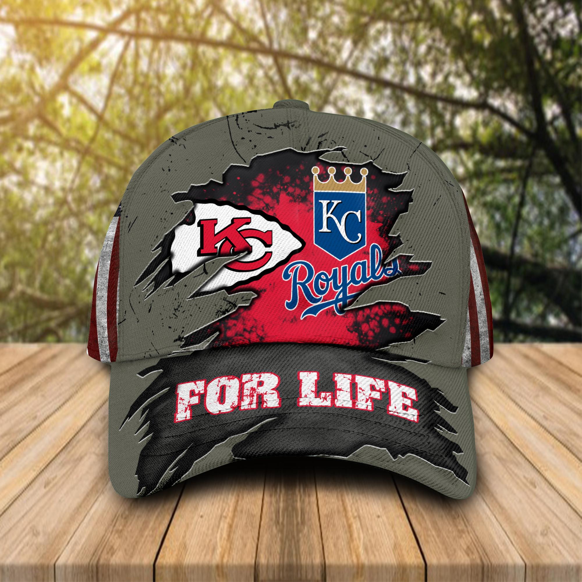 Kansas City Chiefs and Kansas City Royals For Life Hat Cap