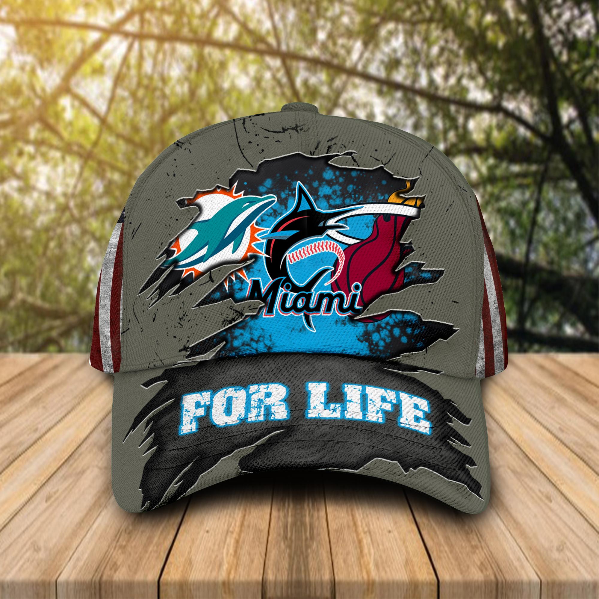 Miami Dolphins, Miami Marlins, Miami Heat For Life Hat Cap