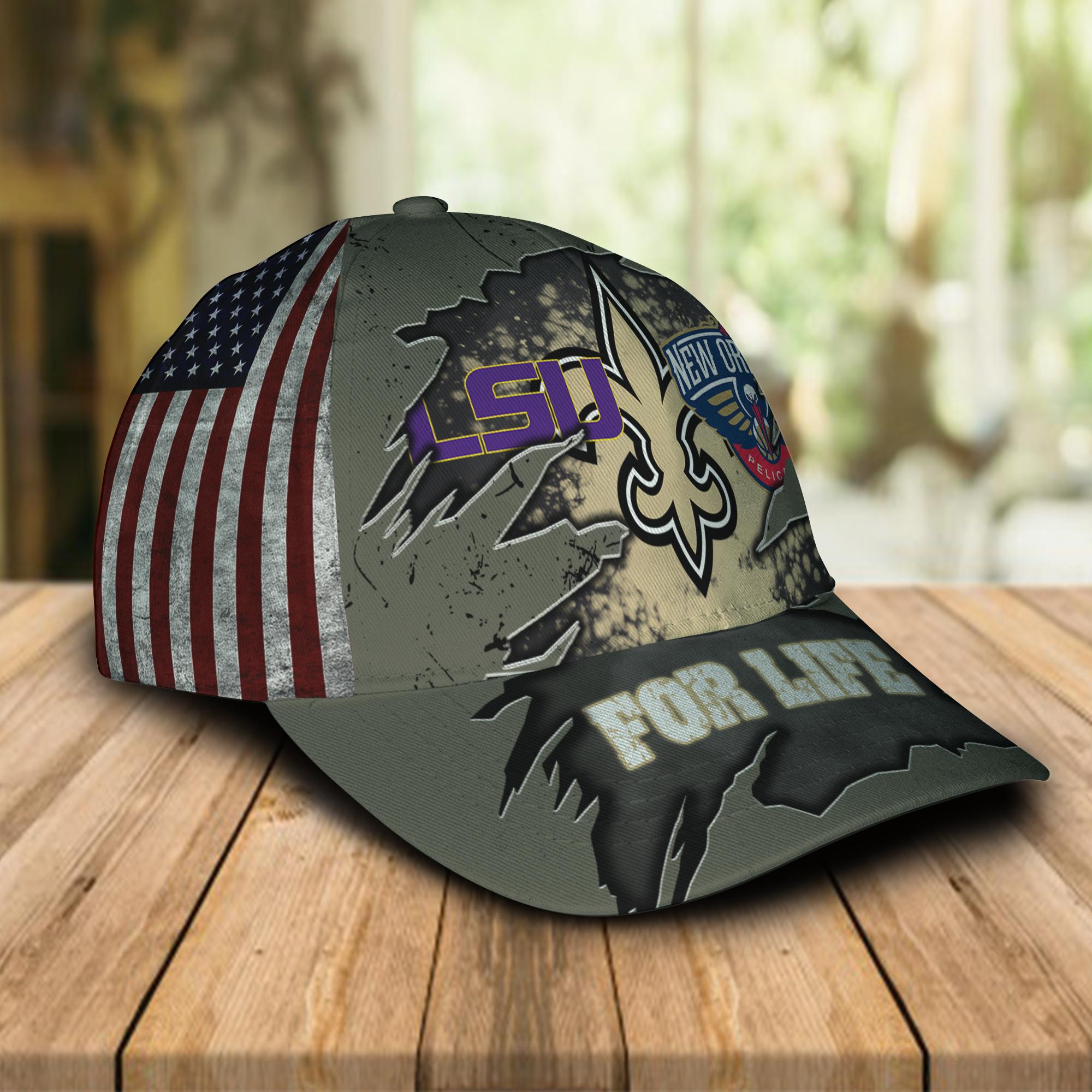 New Orleans Saints New Orleans Pelicans LSU Tigers For Life Hat Cap