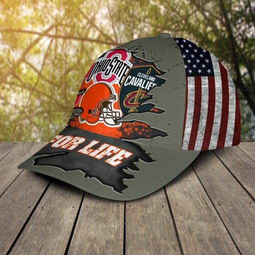 Ohio State Buckeys Cleveland Cavaliers Cleveland Indians Cleveland Browns For Life Cap Hat