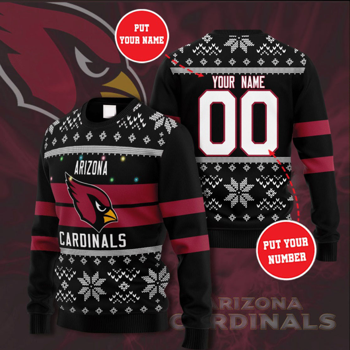 Personalized Name and Number Arizona Cardinals christmas sweater
