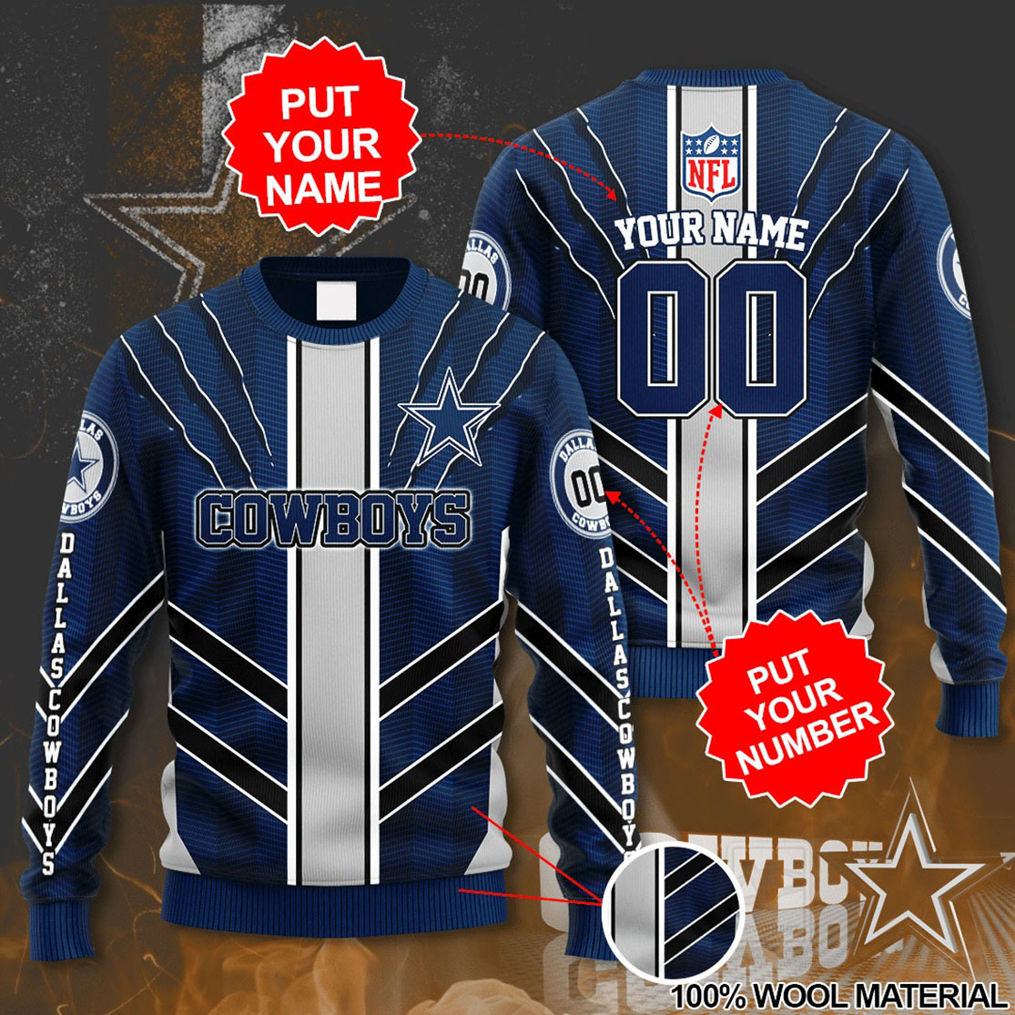 Personalized Name and Number Dallas Cowboys christmas sweater