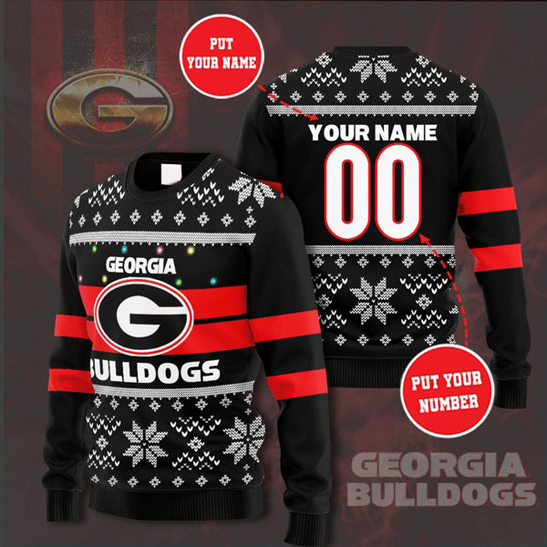 Personalized Name and Number Georgia Bulldogs christmas sweater