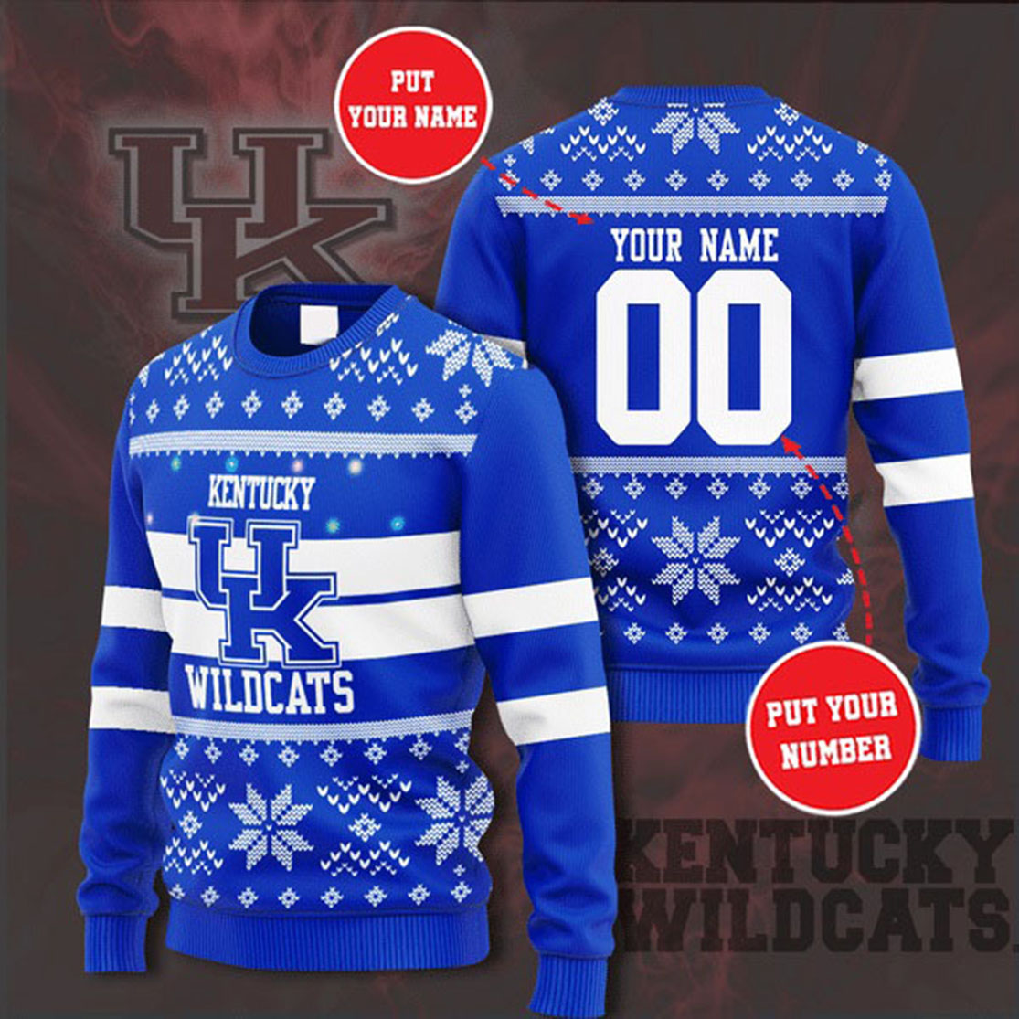 Personalized Name and Number Kentucky Wildcats christmas sweater