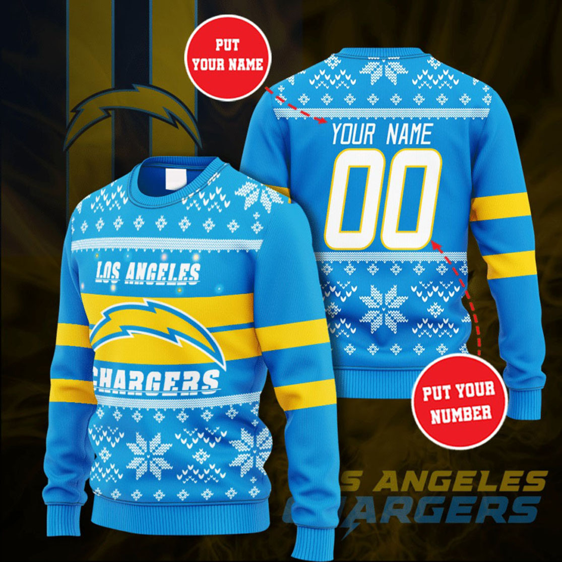 Personalized Name and Number Los Angeles Chargers christmas sweater