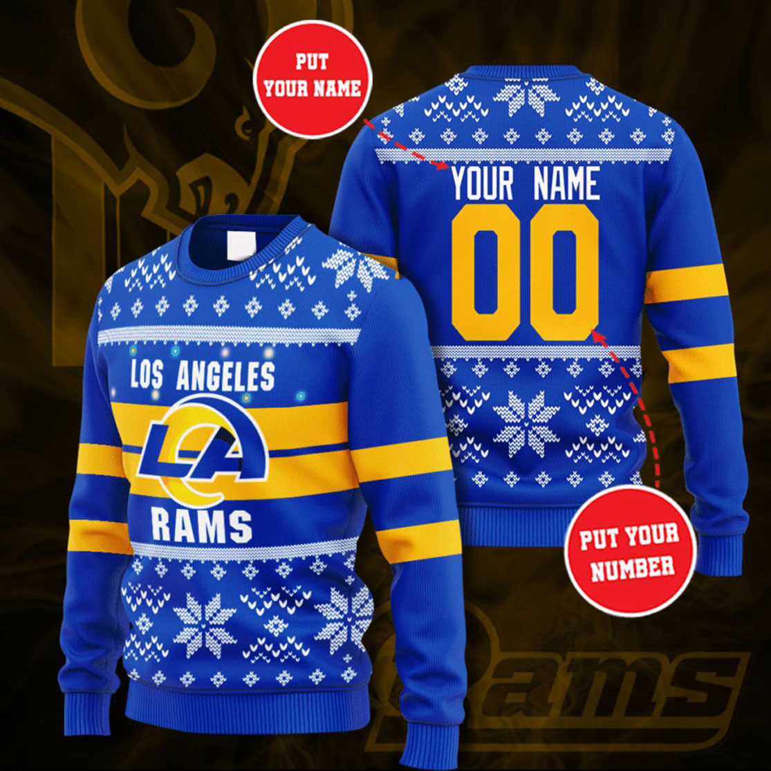 Personalized Name and Number Los Angeles Rams christmas sweater
