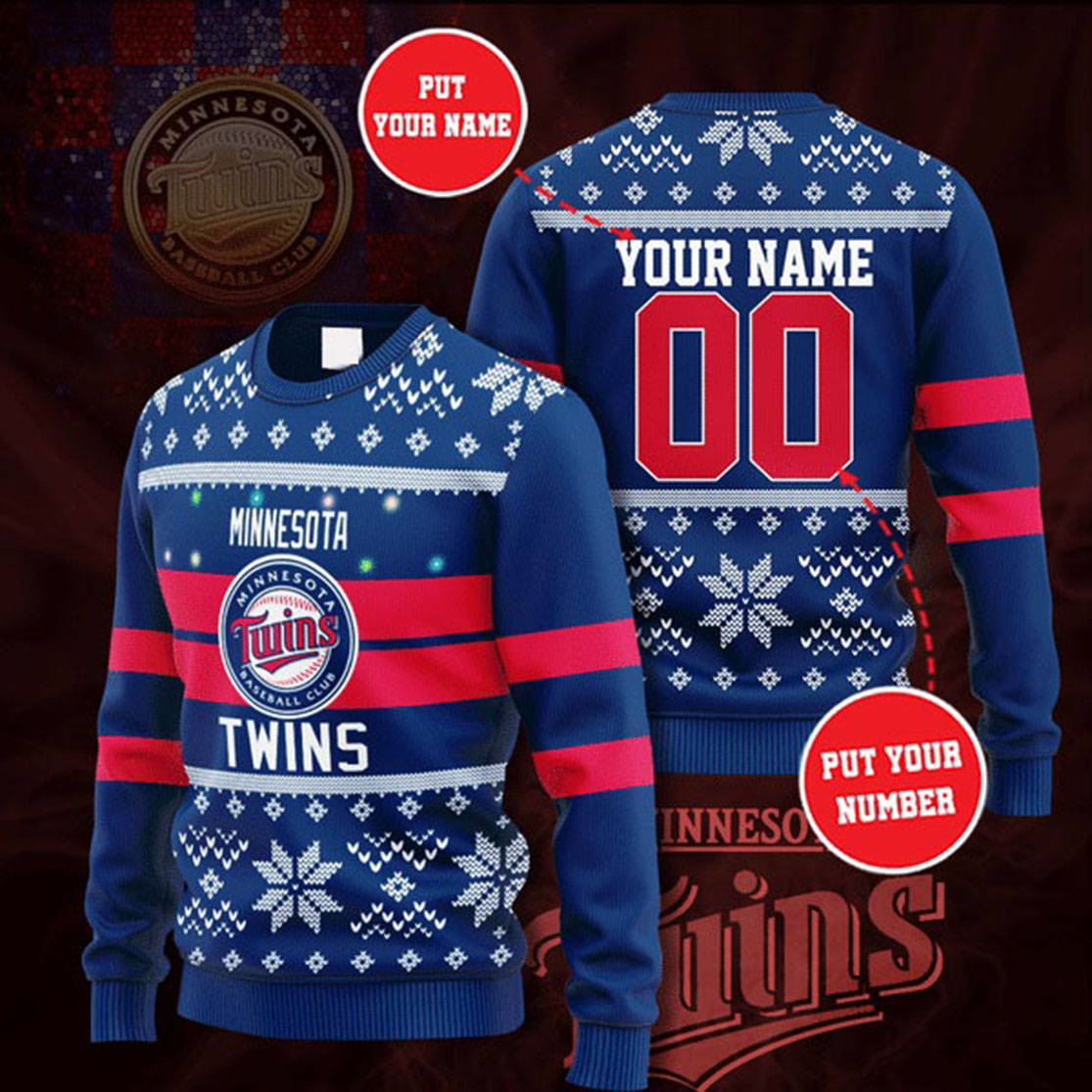 Personalized Name and Number Minnesota Twins christmas sweater